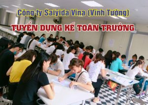 Cong Ty Saiya Vina Tuyen Ke Toan Truong
